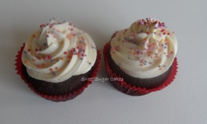 Colours (choco cupcake met witte choco toef)